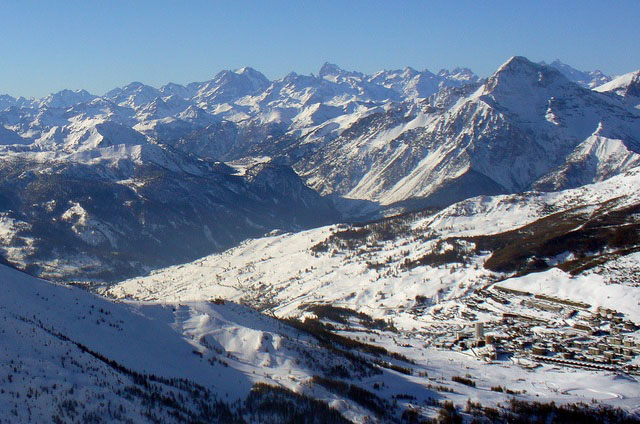 Sestriere village and panorama, Sestriere