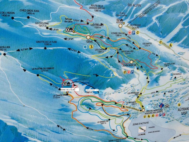 Autrans plan des pistes de ski de fond