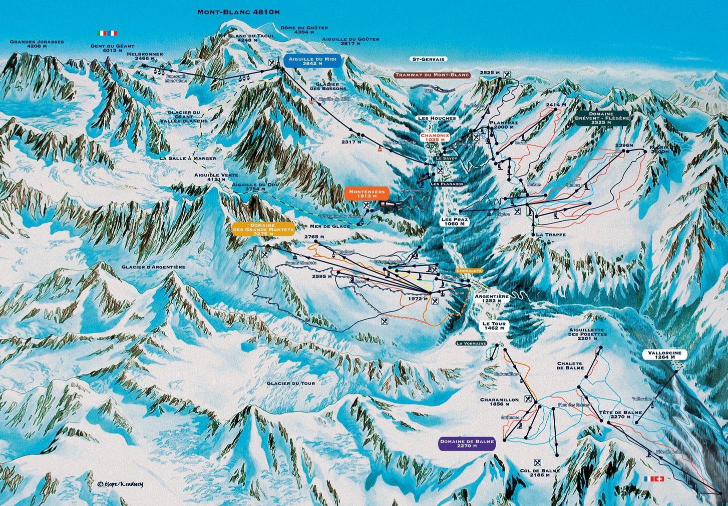 Chamonix Mont-Blanc plan des pistes