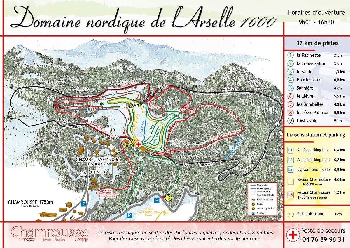 Chamrousse plan des pistes de ski de fond
