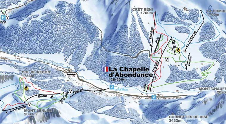 La chapelle d 39 abondance plan des pistes - Office de tourisme chapelle d abondance ...