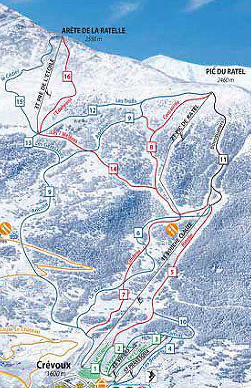 Crévoux piste map