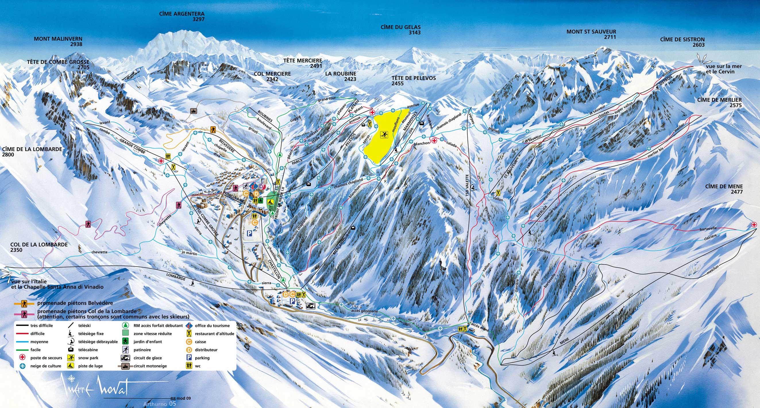 Isola 2000 piste map