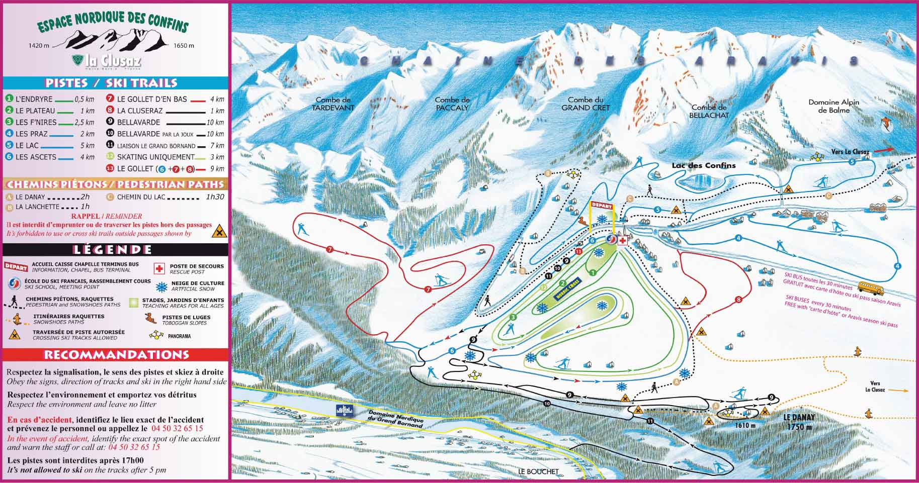 La Clusaz crosscountry skiing piste map Alpskicom