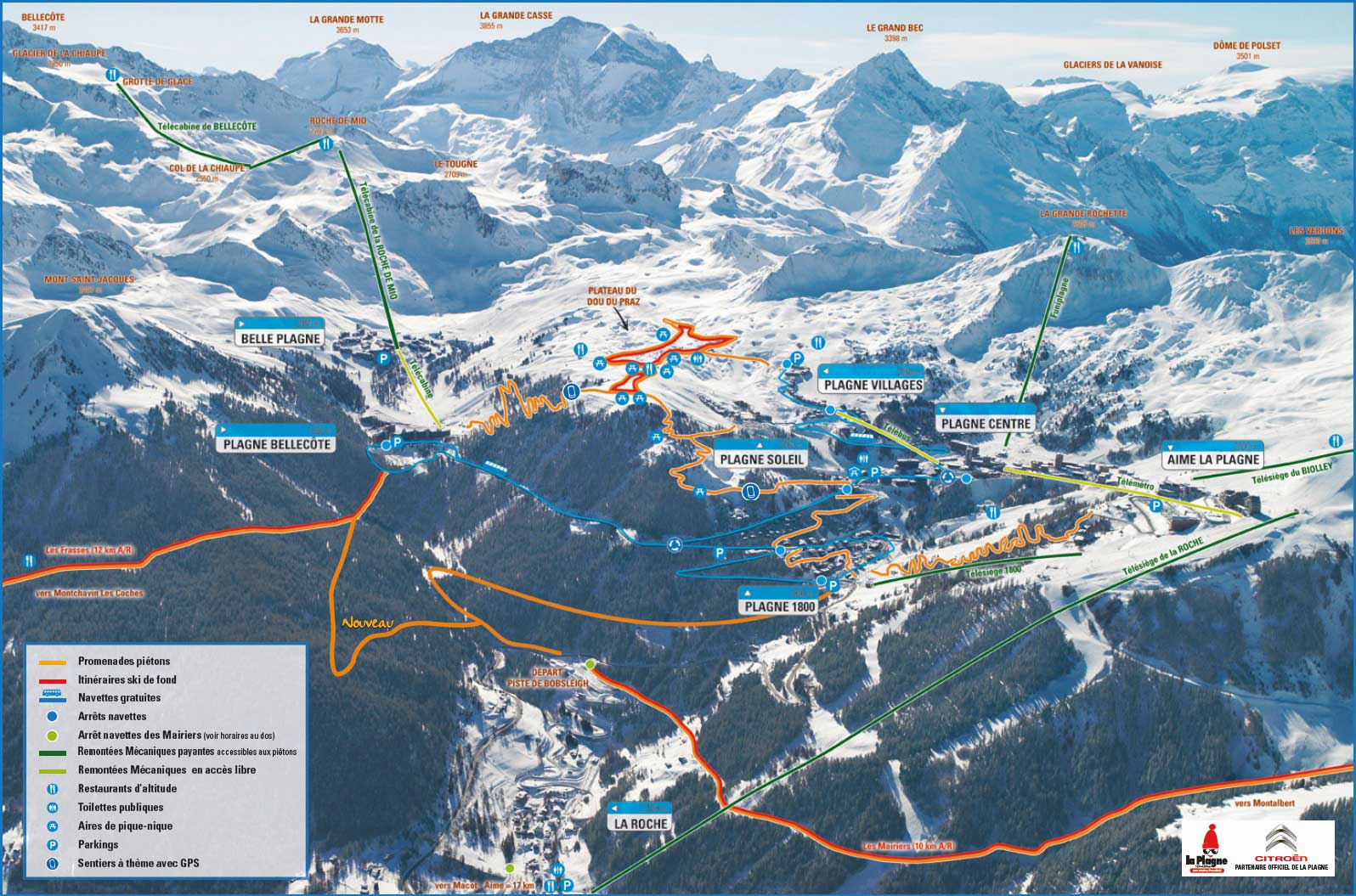 La Plagne crosscountry skiing piste map Alpskicom