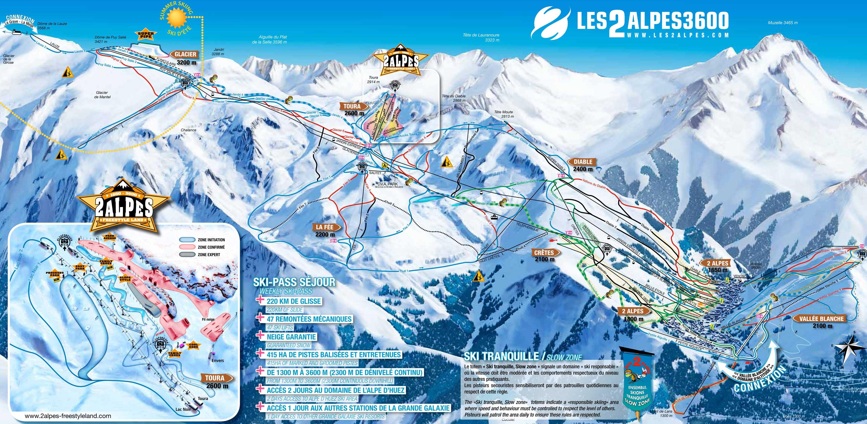 Les 2 Alpes plan des pistes