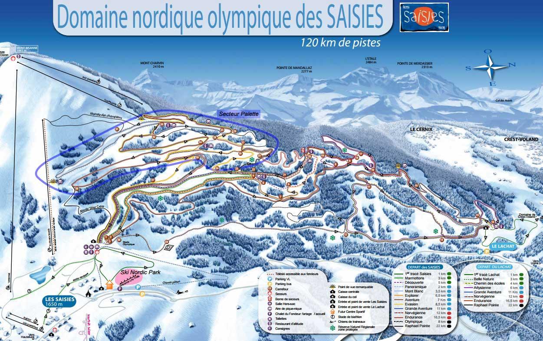 Les Saisies plan des pistes de ski de fond