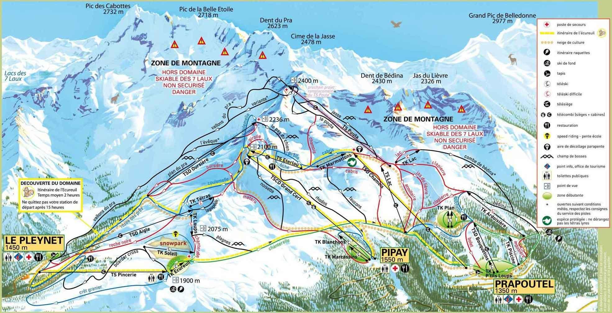 Les Sept Laux piste map