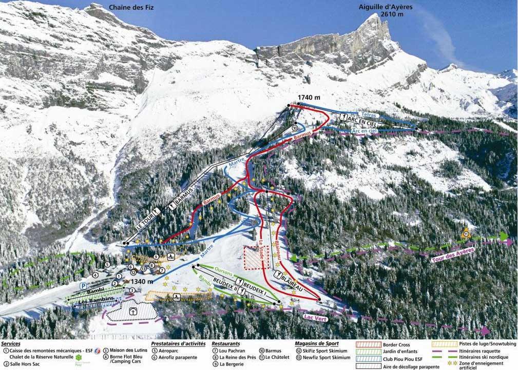 Passy Plaine Joux piste map