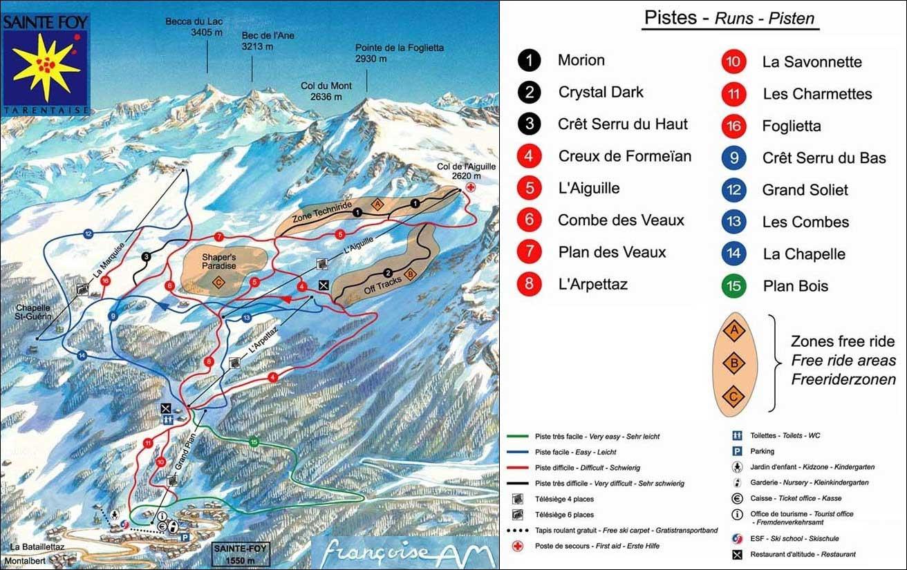 Palns Sainte Foy Tarentaise Piste Map Alpski Com