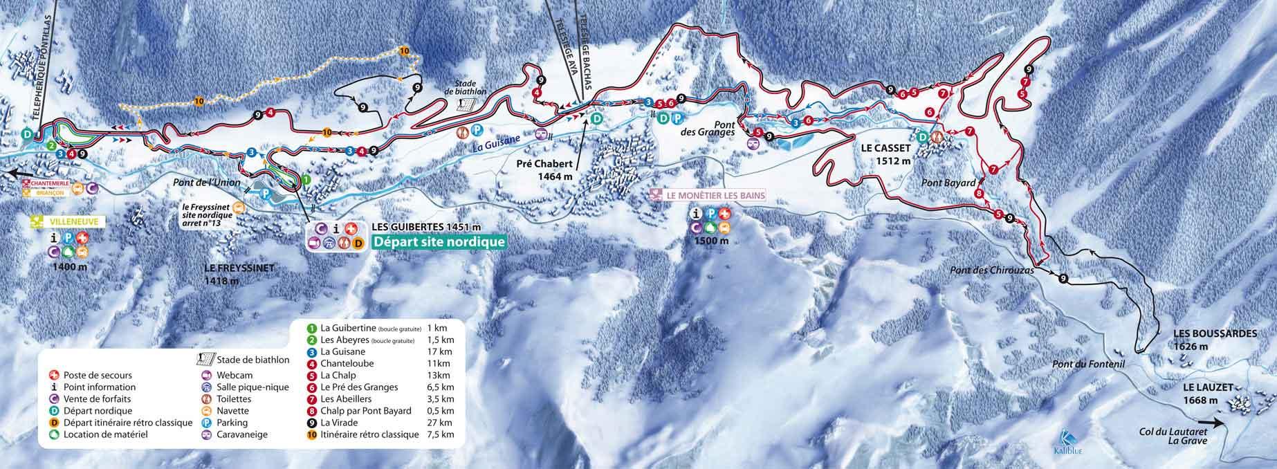 Serre Chevalier Cross Country Skiing Piste Map Alpski Com