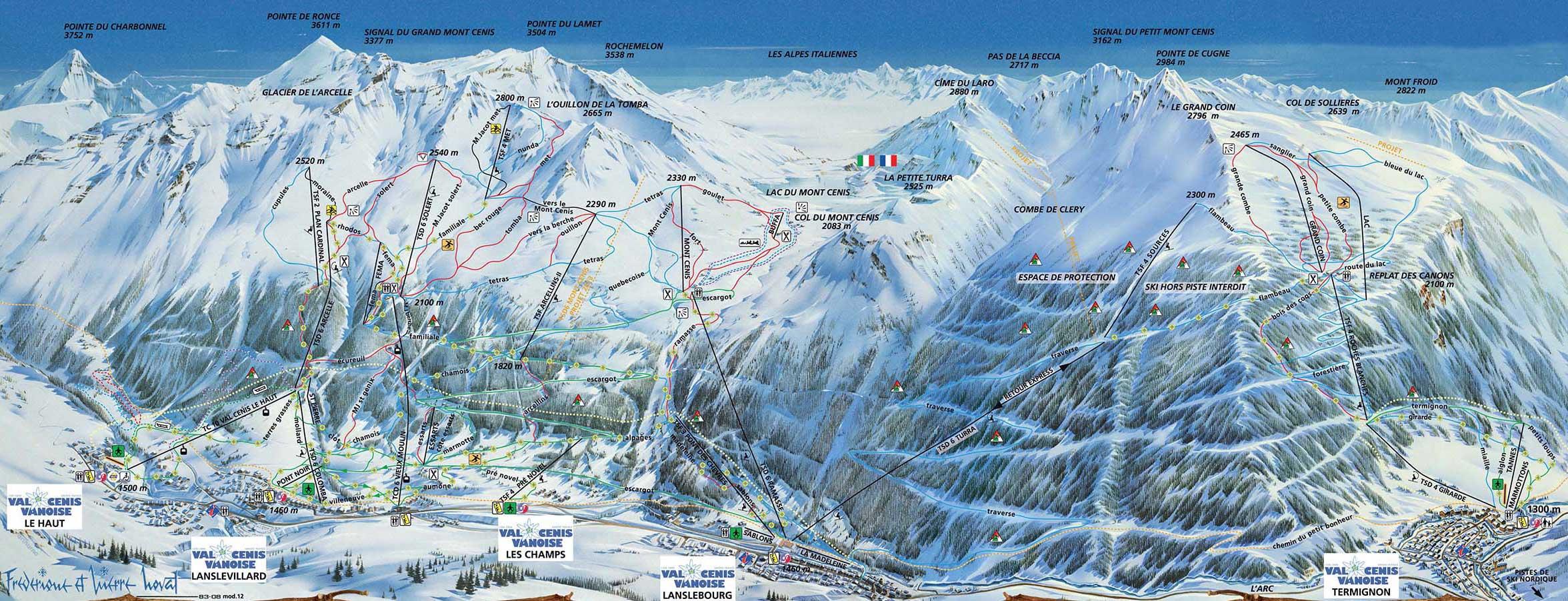 Val Cenis plan des pistes