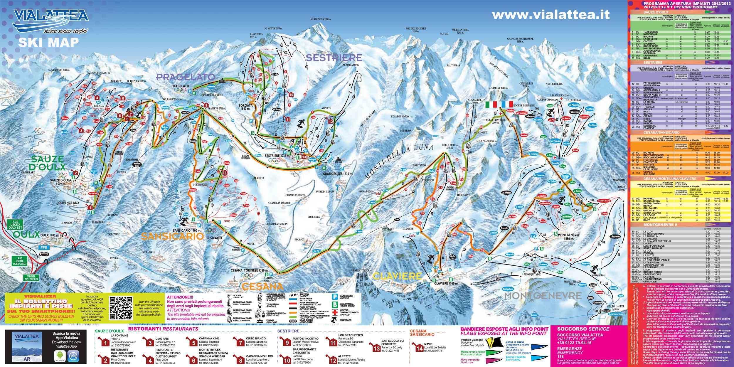 Cesana Sansicario plan des pistes